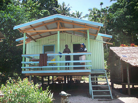 This house in the Solomon Islands is built to a standard plan which helps to reduce the costs and speed up the building process.