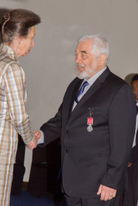 "Tony Whitley - ""our man in Vanuatu"" - receiving his British Empire Medal from the Princess Royal."